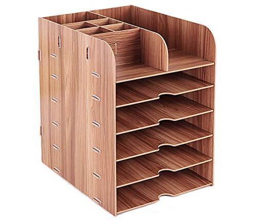 caja organizadora escritorio madera